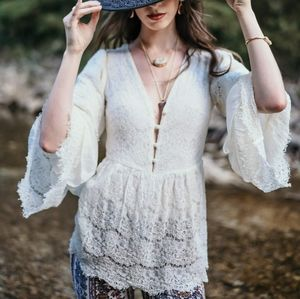 Romantic Ruffled Bell Sleeve Lace Top
